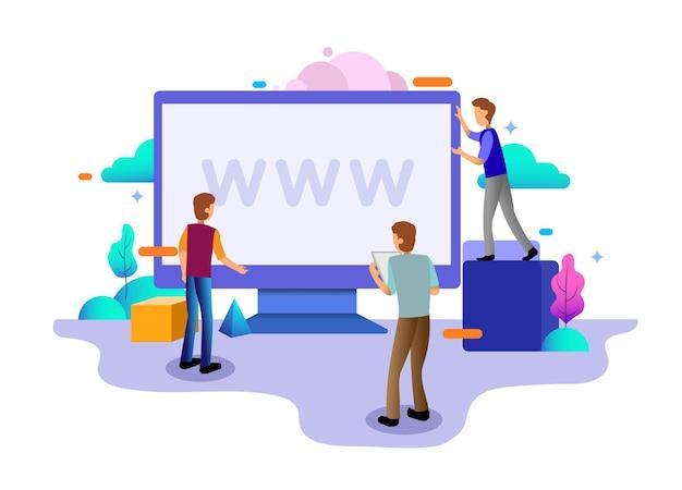 데스크탑 일러스트레이션의 웹 디자인 홈페이지 개념입니다. 비즈니스 전략, 분석 및 브레인스토밍. 웹 사이트 디자인 ui/ux 및 모바일 웹 사이트 개발을 위한 현대적인 평면 디자인 개념.