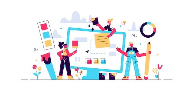 웹 디자인 일러스트 레이 션. 창의적인 디자인 홈페이지, 블로그 또는 사이트와 미니 사람 개념. 디지털 인터페이스 용 장비 도구. 컴퓨터 앱 개발 회사의 팀워크 및 동료 작업