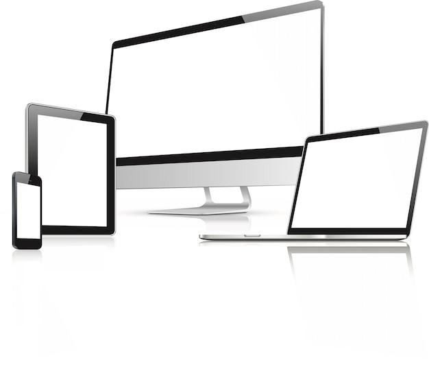 Веб-дизайн в векторе электронных устройств