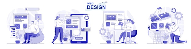 Web design isolated set in flat design people create and place graphic elements at site layout