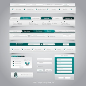 Webデザインナビゲーションセット。