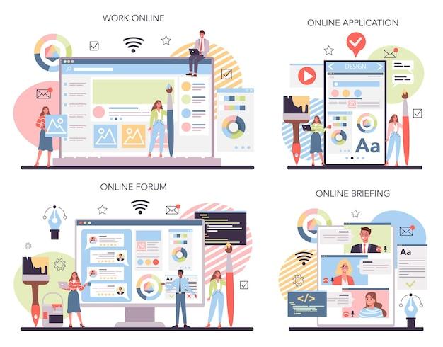 웹 디자인 온라인 서비스 또는 플랫폼 세트