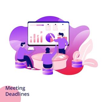 회의 마감일을위한 웹 디자인 페이지 템플릿. 웹 사이트 및 모바일 앱 개발. 현대적인 스타일의 그림입니다.