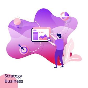 전략 비즈니스를위한 웹 디자인 페이지 템플릿. 웹 사이트 및 모바일 앱 개발. 현대적인 스타일의 그림입니다.