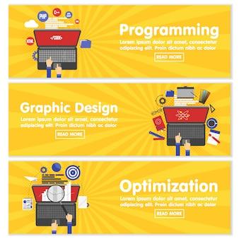 Web design programming seo flat banners