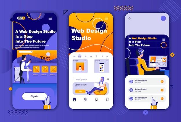 소셜 네트워크 스토리를위한 웹 디자인 스튜디오 모바일 앱 화면 템플릿
