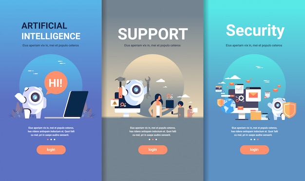 Web design template set for artificial intelligence support and security concepts different business collection