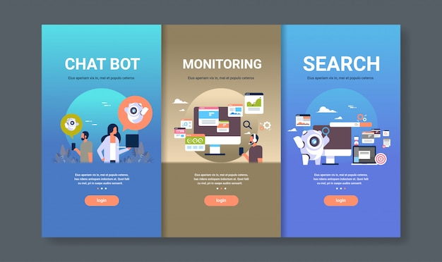 Web design template set for chat bot monitoring and search concepts different business collection