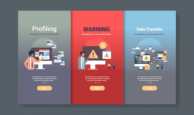 Web design template set for profiling warning and data transfer concepts different business collection