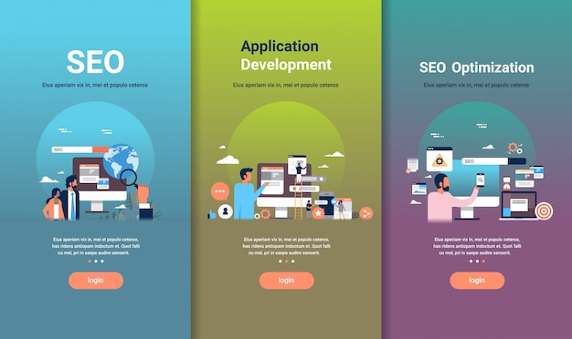 Web design template set for seo optimization and application development concepts different business collection