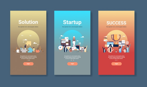 Web design template set for solution startup and success concepts different business collection