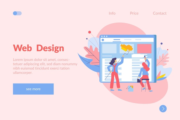 Web design template with illustration of painters internet page screen links and text