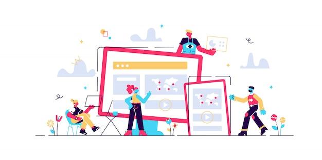 Webデザイン、ユーザーインターフェイスui、ユーザーエクスペリエンスuxコンテンツの編成。 webデザイン開発コンセプト。孤立した概念図。花の要素を持つ3 d液体デザイン。