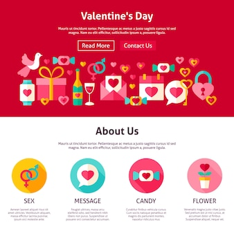 Web design valentine day. flat style vector illustration for website banner and landing page. valentines day holiday.