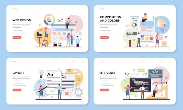 Web design web banner or landing page set Premium Vector