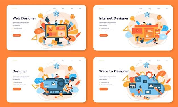 웹 디자인 웹 레이아웃 또는 방문 페이지 세트. 웹 페이지에 콘텐츠를 표시합니다. 웹 사이트 레이아웃, 구성 및 색상 개발. 컴퓨터 기술에 대한 아이디어.