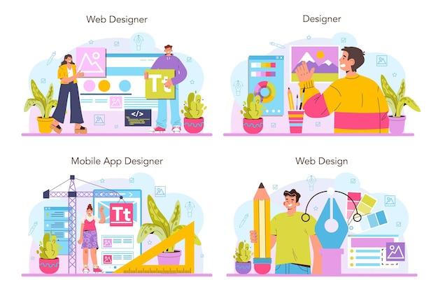 Webデザイナーのコンセプトセット。インターフェイスとコンテンツのプレゼンテーションの設計と開発。ウェブサイトのレイアウト、構成、色の開発。フラットベクトルイラスト