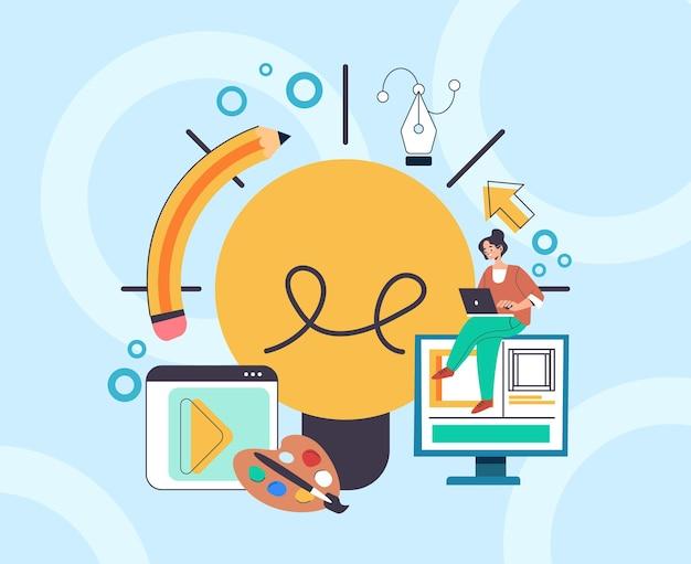 웹 디자이너 디지털 아티스트는 드로잉 개발 아트 프로젝트를 만듭니다.