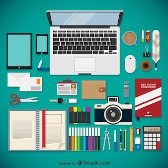 Web designer equipment collection Free Vector