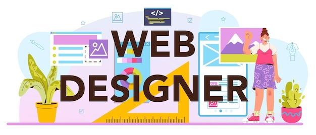 웹 디자이너 인쇄 상의 헤더입니다. 인터페이스 및 콘텐츠 프레젠테이션 디자인 및 개발. 웹사이트 레이아웃, 구성 및 색상 개발. 평면 벡터 일러스트 레이 션
