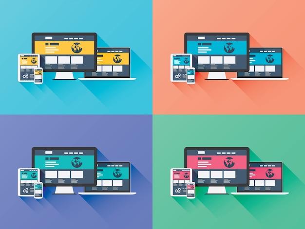 플랫 스타일의 웹 디자인 개발 벡터 컴퓨터 아이콘