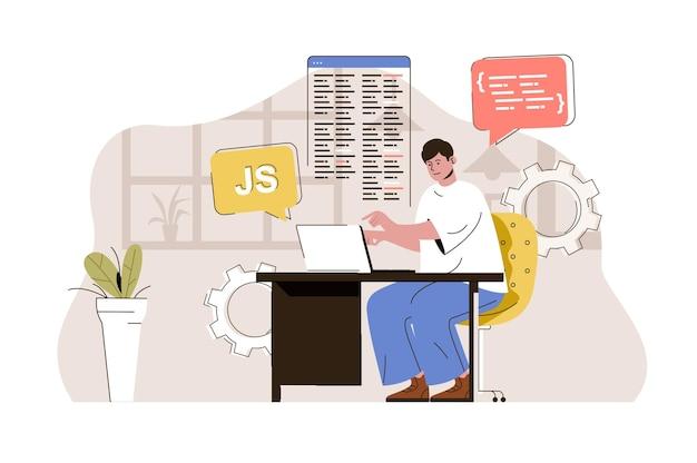 웹 개발자 개념 디자이너는 사이트를 개발하고 코드를 작성하여 레이아웃을 만듭니다.