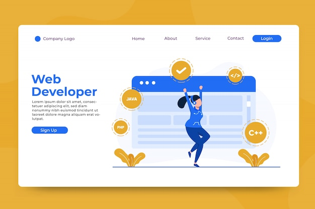 Web developer concept landing page template