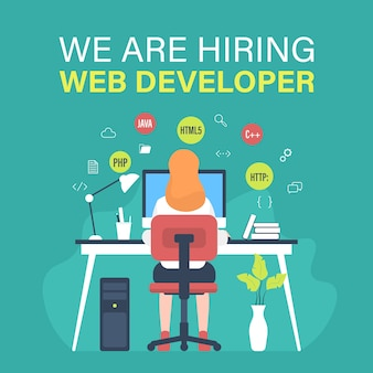 Web developer job vacancy with female programmer