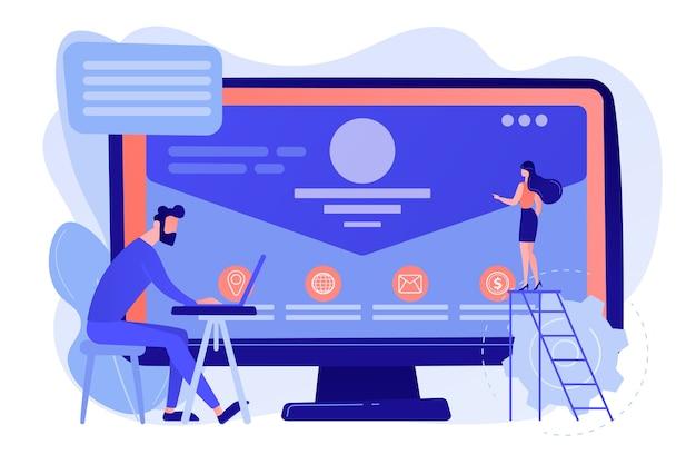Sviluppatore web che lavora sul sito web dell'azienda, persone minuscole