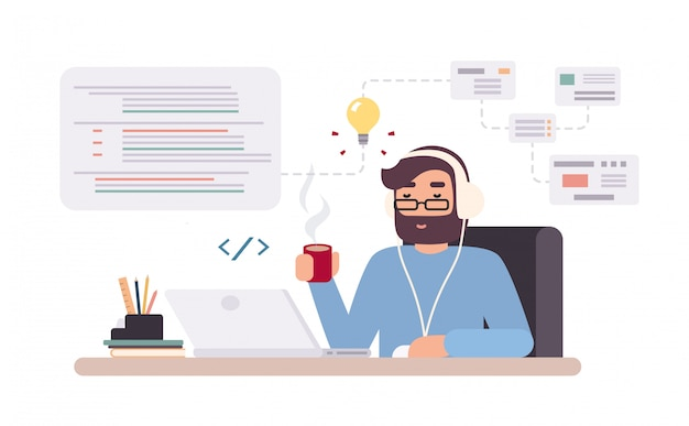 Web-developer works on laptop. horizontal banner with young programmer on job. colorful illustration in flat style.