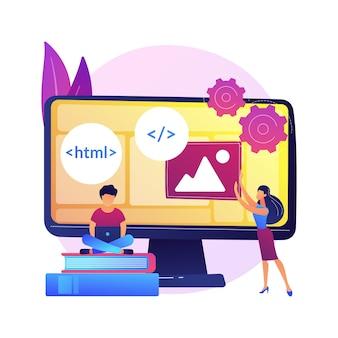 Курсы веб-разработчиков. компьютерное программирование, веб-дизайн, изучение сценариев и кодирования. компоненты структуры интерфейса обучения студентов информатики