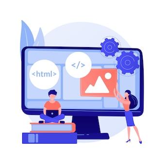 Курсы веб-разработчиков. компьютерное программирование, веб-дизайн, изучение сценариев и кодирования. компоненты структуры интерфейса обучения студентов информатики.