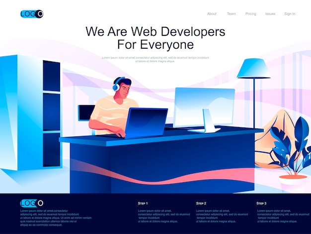 Web developers isometric landing page with flat characters situation