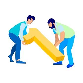 Web developers working together flat illustration