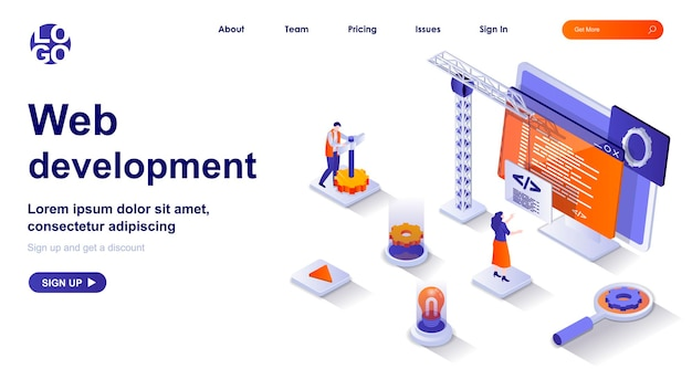 Веб-разработка 3d изометрическая целевая страница с персонажами людей