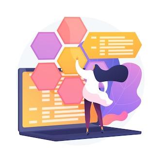Web開発とコーディング。 it、ウェブサイトの最適化、コンピューターソフトウェアのテスト。プログラマーと開発者が働く女性のフラットキャラクター。