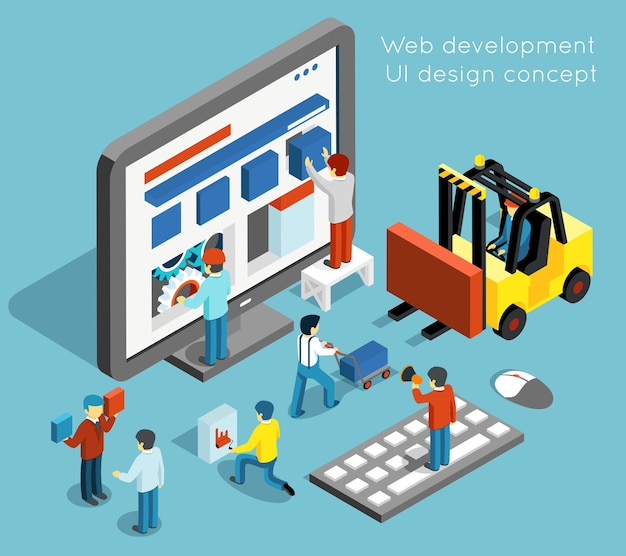 フラットな3dアイソメトリックスタイルのweb開発とuiデザインのコンセプト。テクノロジーのウェブサイトとコンピューターインターフェースのデザイン。 webui開発ベクトル図