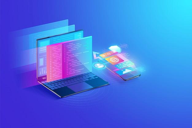 프로그래밍 언어 및 프로그램 코드 및 화면의 레이아웃이있는 노트북 및 스마트 폰 개념의 웹 개발, 응용 프로그램 디자인, 코딩 및 프로그래밍