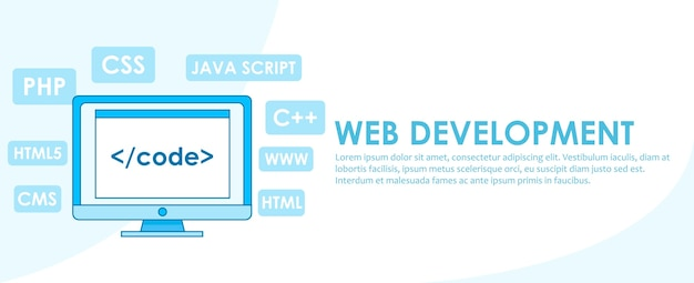 Web development banner. computer with window a computer with a browser window.