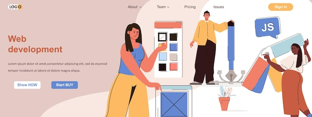 Web development concept developers create an interface designers draw buttons