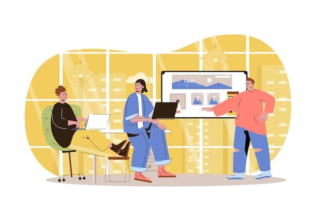 Web development concept developers team creates webpage layout place graphic elements Premium Vector