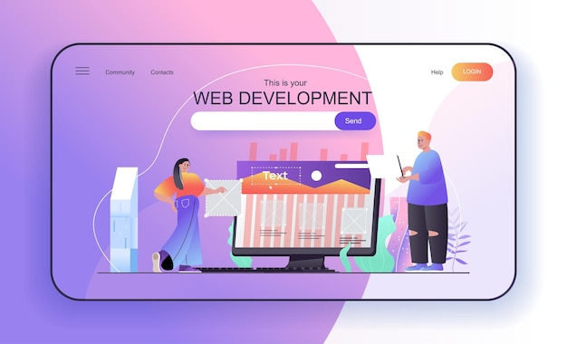 Web development concept for landing page designers create page layout programming