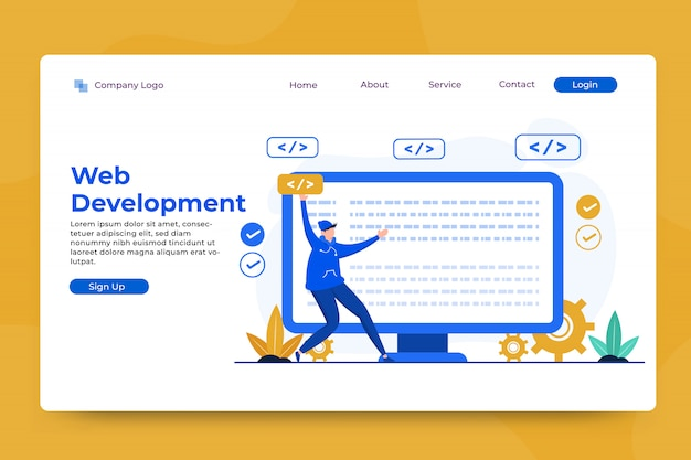 Web development concept landing page template