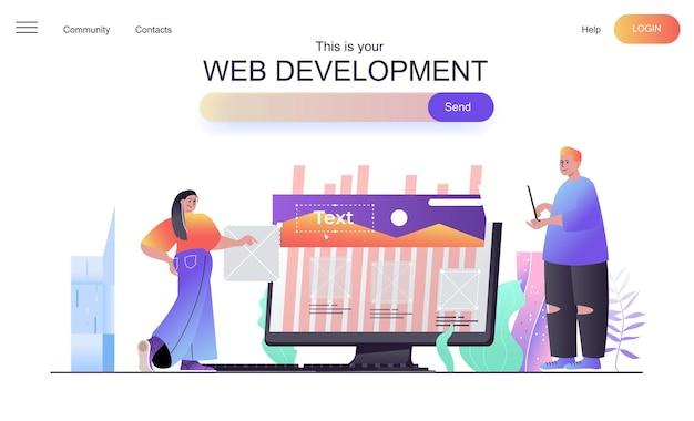 Web development concept for landing page