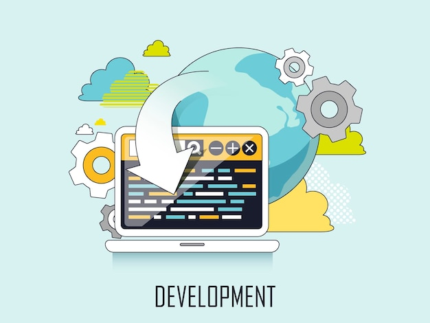 Web development concept: web page and laptop in line style