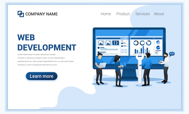 Web development concept with people are programming and coding on big screen.