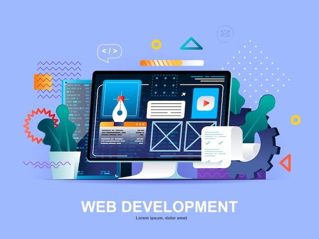グラデーションイラストテンプレートとweb開発フラットコンセプト