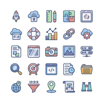 Web development flat icons pack