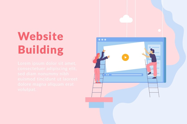Web development flat illustration with hanging computer screen window people on ladders and text