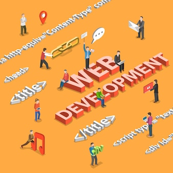 Web development flat isometric